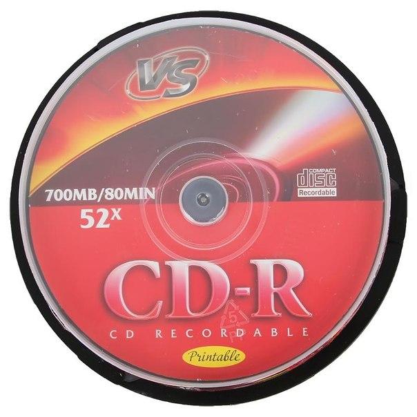 Диск cd-r 700mb 52x cakebox (10 шт) vs