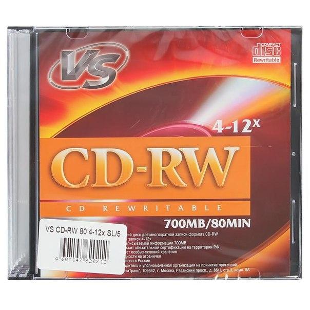 Диск cd-rw 700mb 4-12x slimcase (5шт) vs
