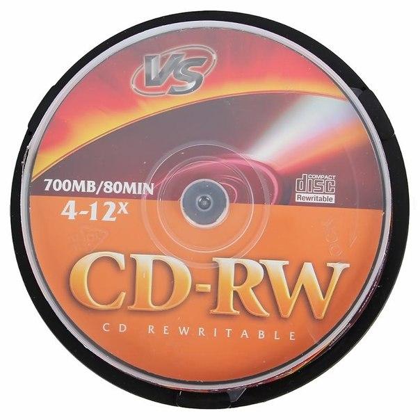 Диск cd-rw 700mb 4-12x cakebox (10 шт) vs