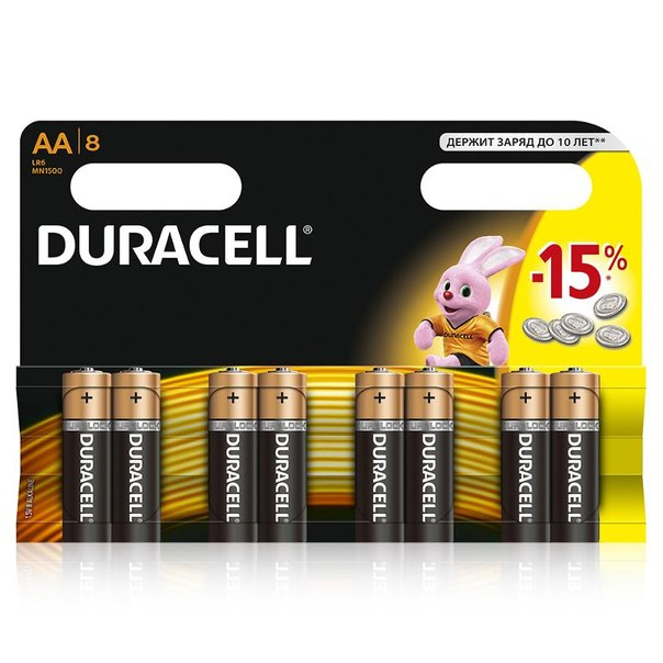 Батарейки aa (lr6) 8шт. duracell щелочные basic