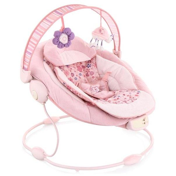 Шезлонг capella с музыкальным вибро-блоком розовый