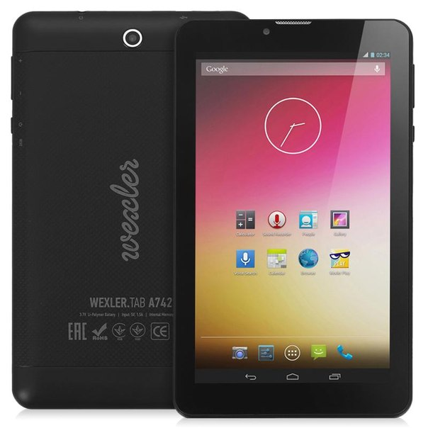 """Планшет wexler.tab a742 + 3g 4gb quad-core, 7"""" ips 1024x600, black, черный"""