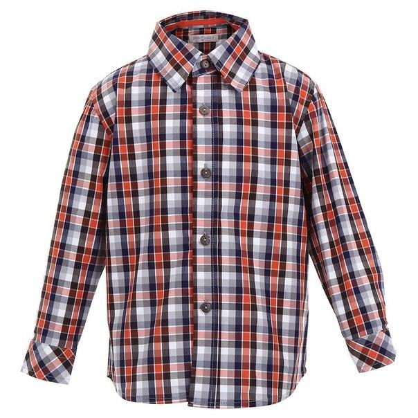 Сорочка для мальчиков playtoday 341121, размер 122-128 см, цвет белый, коричневый, оранжевый, синий, серый