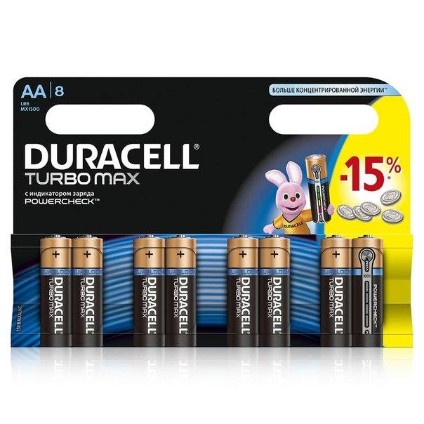Батарейки aa (lr6) 8шт. duracell щелочные turbomax