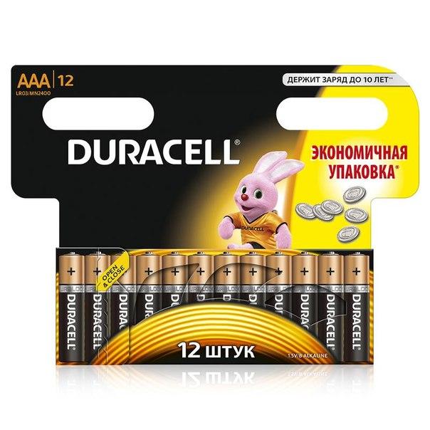 Батарейки aaa (lr3) 12шт. duracell щелочные basic