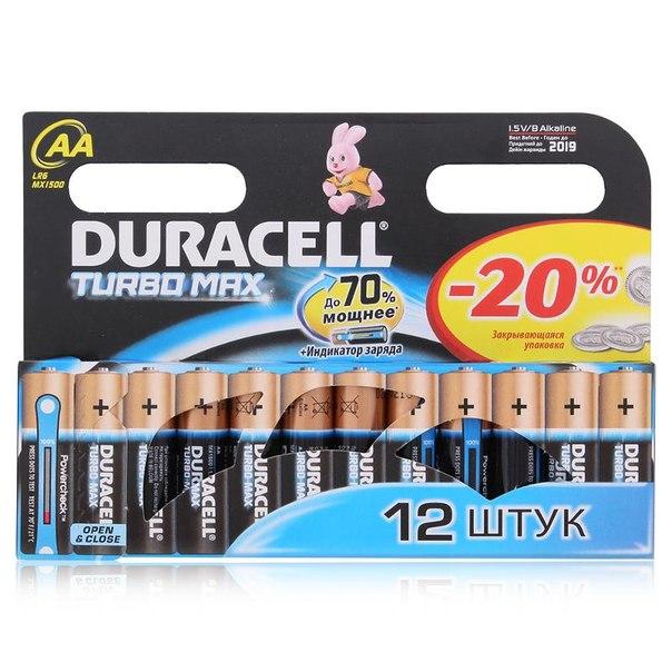 Батарейки aa (lr6) 12шт. duracell щелочные turbomax