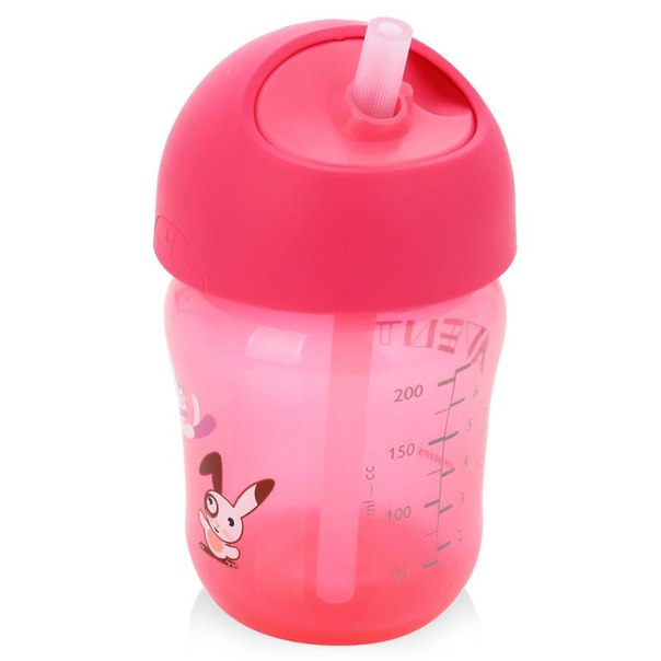 Чашка с трубочкой philips avent с 12 мес, 260 мл, розовый