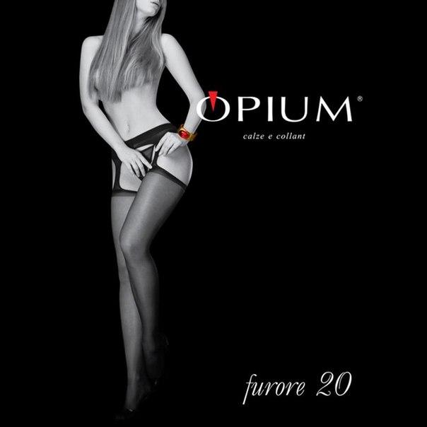 Чулки с поясом классические opium furore, 20 den, visone, 2