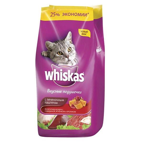 Корм сухой whiskas вкусные подушечки для кошек, с печеночным паштетом, говядиной, ягненком и кроликом, 5 кг