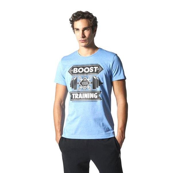 Футболка adidas boost training s16559, мужская, синяя
