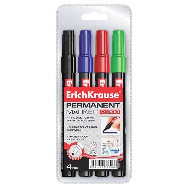 Набор маркеров перманентных erich krause, 2,2мм (4 цвета)