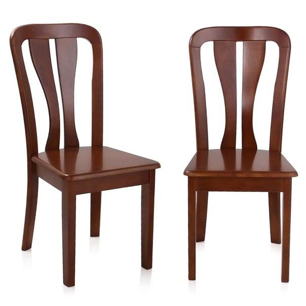 Комплект стульев жестких, 2 шт, 2512 к, цвет темный дуб, AFOX