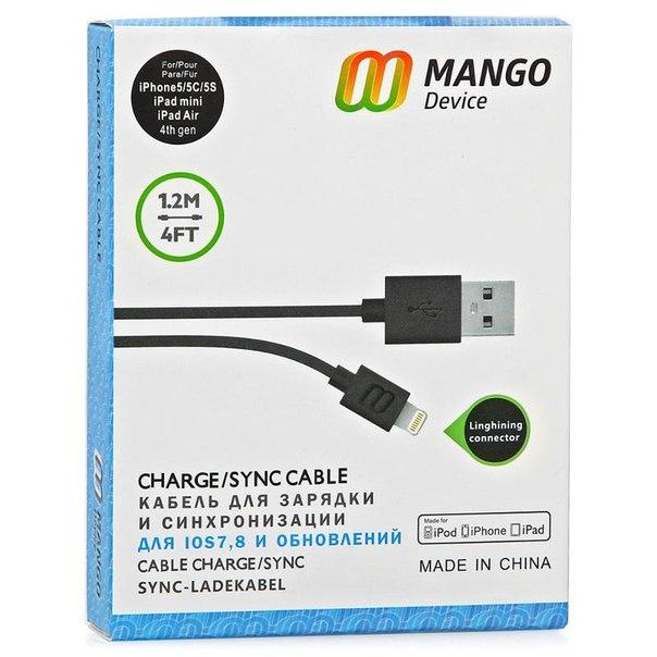 Кабель mango device lightning, для apple iphone 5/5s/5c/6, ipad air и ipad mini with retina, 1,2 м, черный