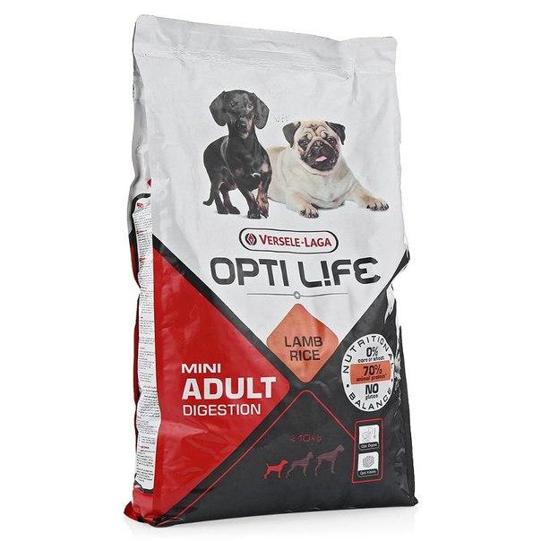 Корм сухой opti life ad digestion mini для собак мелких пород, с чувствительным пищеварение, 7.5кг, ягненок/рис