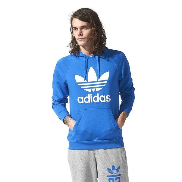 Джемпер с капюшоном adidas orig tref hoody s23123, мужской, синий
