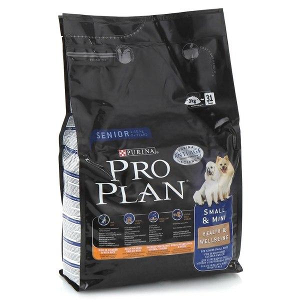 Корм сухой purina pro plan hlth&wbg для пожилых собак мелких и карликовых пород 3 кг, курица/рис