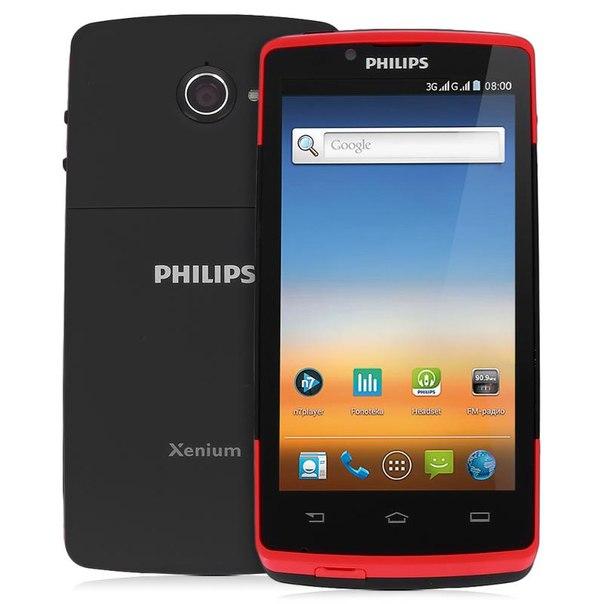 Смартфон philips xenium w7555 black/red