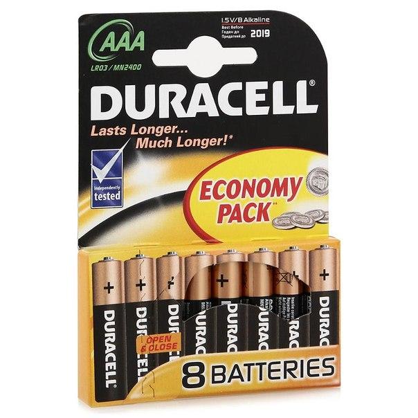 Батарейки aaa (lr3) 8шт. duracell щелочные basic