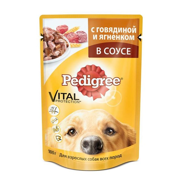 Упаковка консервов 24 шт pedigree для взрослых собак, с говядиной и ягненком в соусе, 100гр х 24 шт