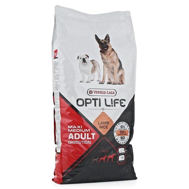 Корм сухой opti life ad digestion med&maxi для собак средних и крупных пород, с чувствительным пищеварением, 12.5кг, ягненок/рис
