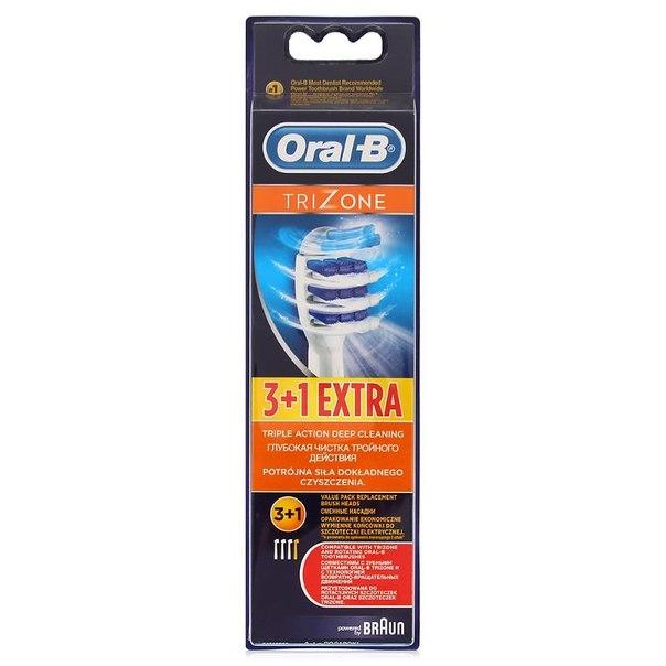Сменные насадки для электрических зубных щеток oral-b trizone, 3+1 шт