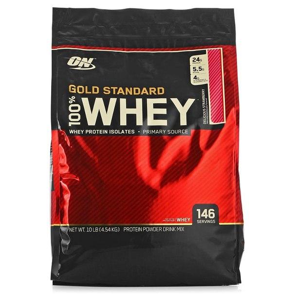 Протеин optimum nutrition 100% whey gold standard (клубника) 4540 г