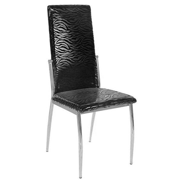 Комплект стульев, 4 шт, 1717м, цвет хром/черный с узором зебра, AFOX
