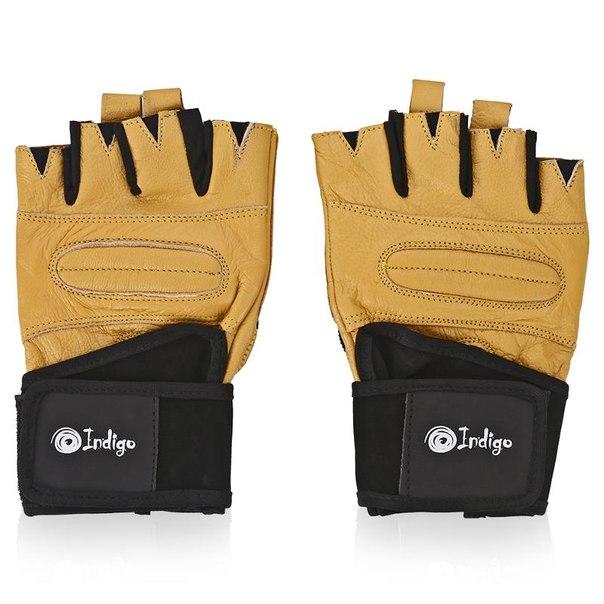Перчатки тяжелоатлетические indigo, размер xl, натуральная кожа