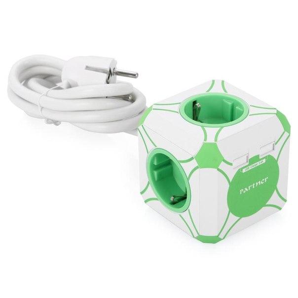Сетевое зарядное устройство partner mini cube 2.4a, 2 usb, 4 розетки, с сетевым удлинителем, белый