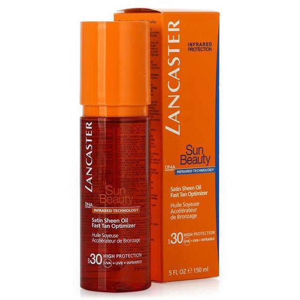 Масло для загара spf 30 lancaster sun beauty satin sheen oil fast tan optimizer быстрый загар, 150 мл