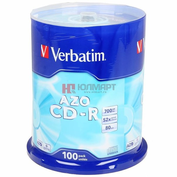 Диски cd-r 700mb 52x super azo plus crystal verbatim
