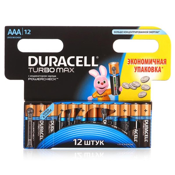Батарейки aaa (lr3) 12шт. duracell щелочные turbomax