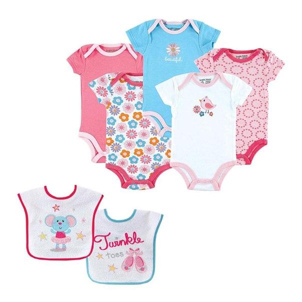 Комплект боди для девочек luvable friends 30760/02076, возраст 3-6 месяцев, цвет розовый
