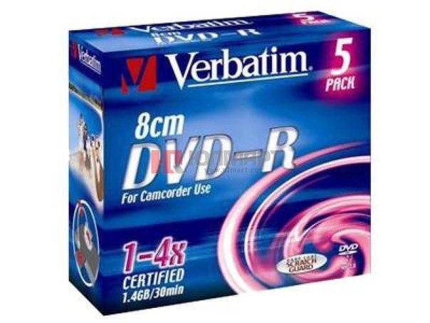 Диски dvd-r 8 см 1.4gb 4x verbatim
