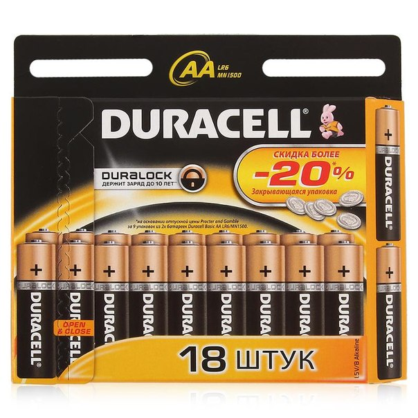 Батарейки lr6/aa щелочные duracell basic 18шт.