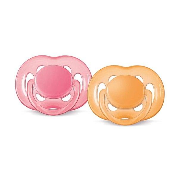 Пустышки philips avent free flow классика 6-18 мес, 2 шт, оранжевый-розовый