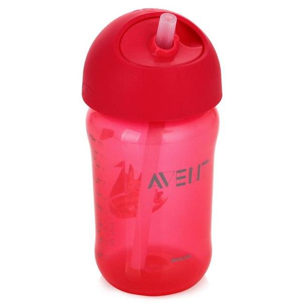 Чашка с трубочкой philips avent с 18 мес, 340 мл, розовый