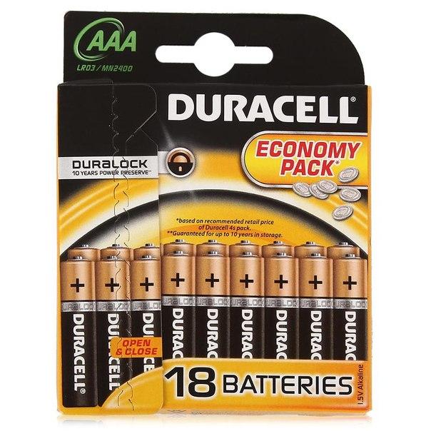 Батарейки aaa (lr3) 18шт. duracell щелочные basic