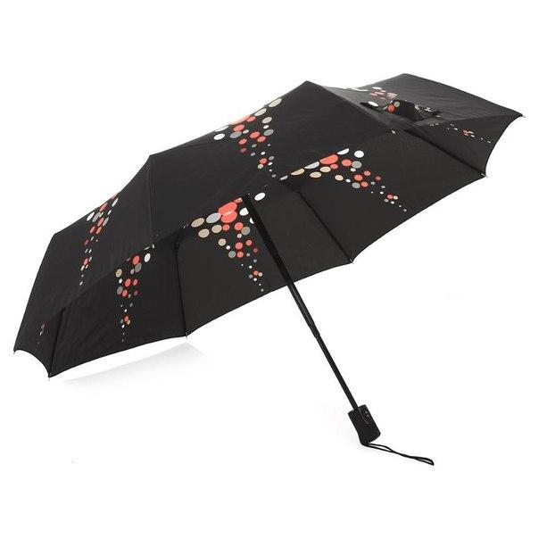 Зонт женский doppler falling drops, 3 сложения, полиэстер, полный автомат, карбонстил