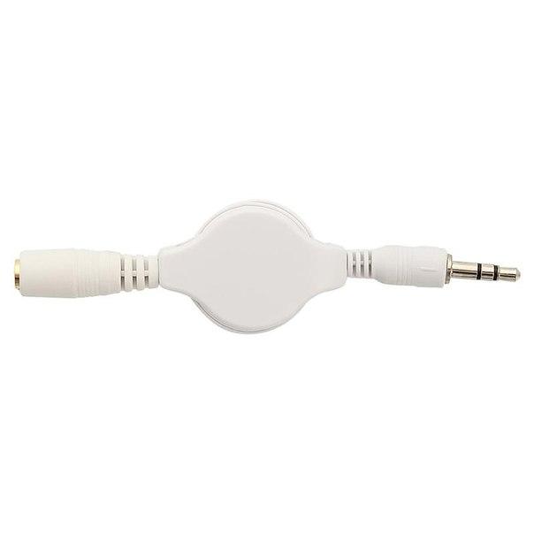 Аудио кабель рулетка readyon audio jack 3,5 - plug 3,5 папа-мама, 65 см, белый, удлинитель для наушников