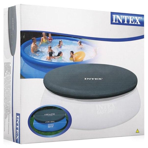 Тент на бассейн intex easy set 28020, 244х30см