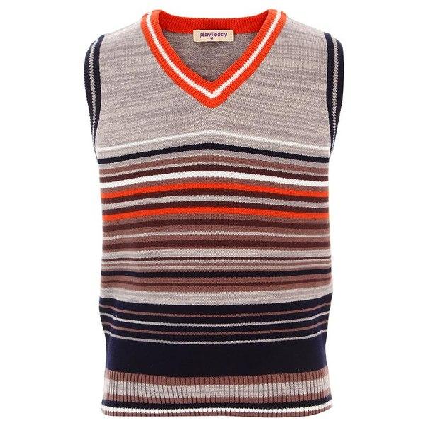 Жилет для мальчиков playtoday 341116, размер 110-116 см, цвет серый, белый, оранжевый, коричневый, синий