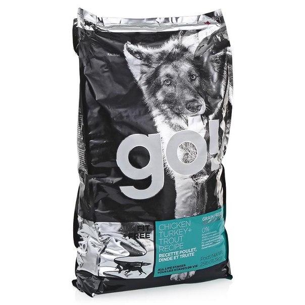 Корм сухой go! natural holistic для собак всех возрастов, беззерновой (4 вида мяса: индейка, курица, лосось, утка) 11,3 кг