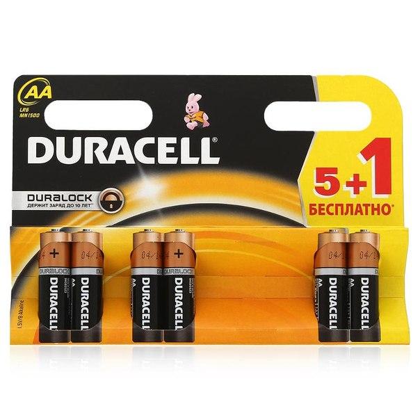 Батарейки aa (lr6) 6шт. (5+1) duracell щелочные basic