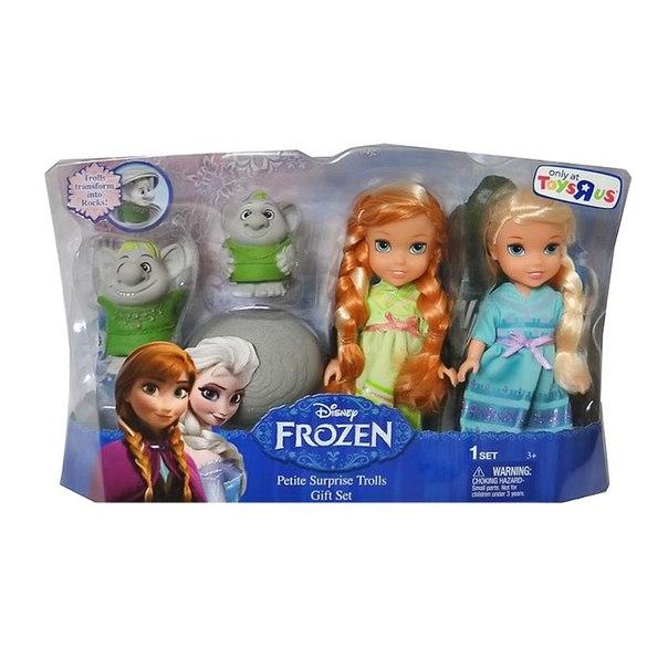 Набор кукол принцессы дисней эльза, анна и тролли (холодное сердце) 15 см