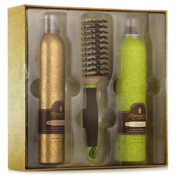 Набор для волос macadamia natural oil flawless finish, для укладки, 3 предмета