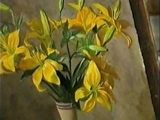 Цветы акварелью (Желтые лилии)