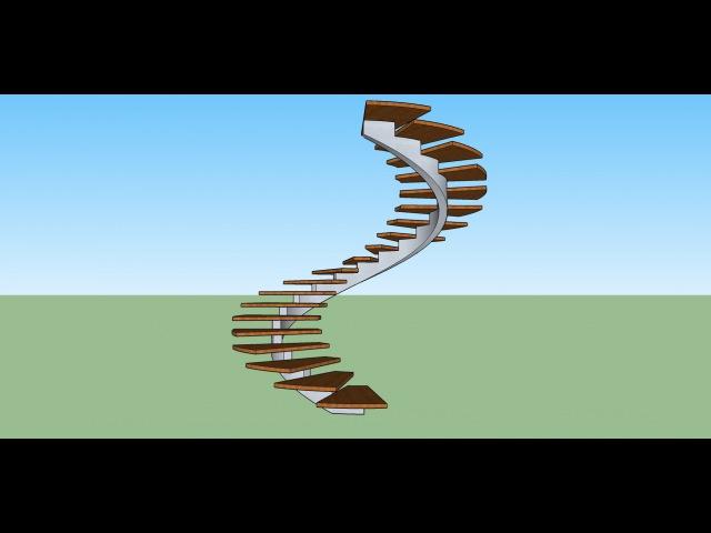 Создание винтовой лестницы со спиральным косоуром в программе скетчап