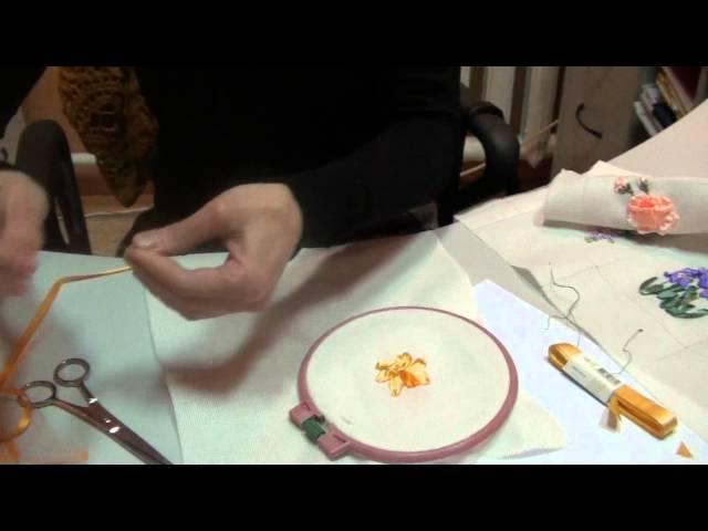 Вышивка лентами МК от Людмилы Махнёвой Нарцис цветок