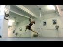 Spinning shoulder mount flip sit advanced, static pole dance trick